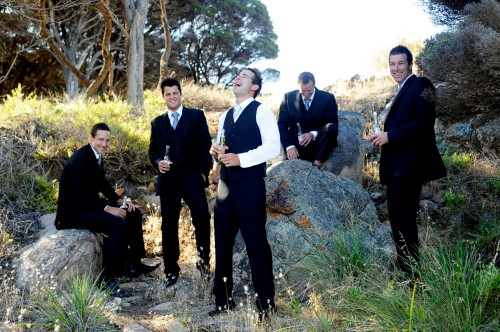 DJ laughing it up with the boys.