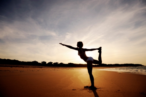 Yoga on the beach - what stress?